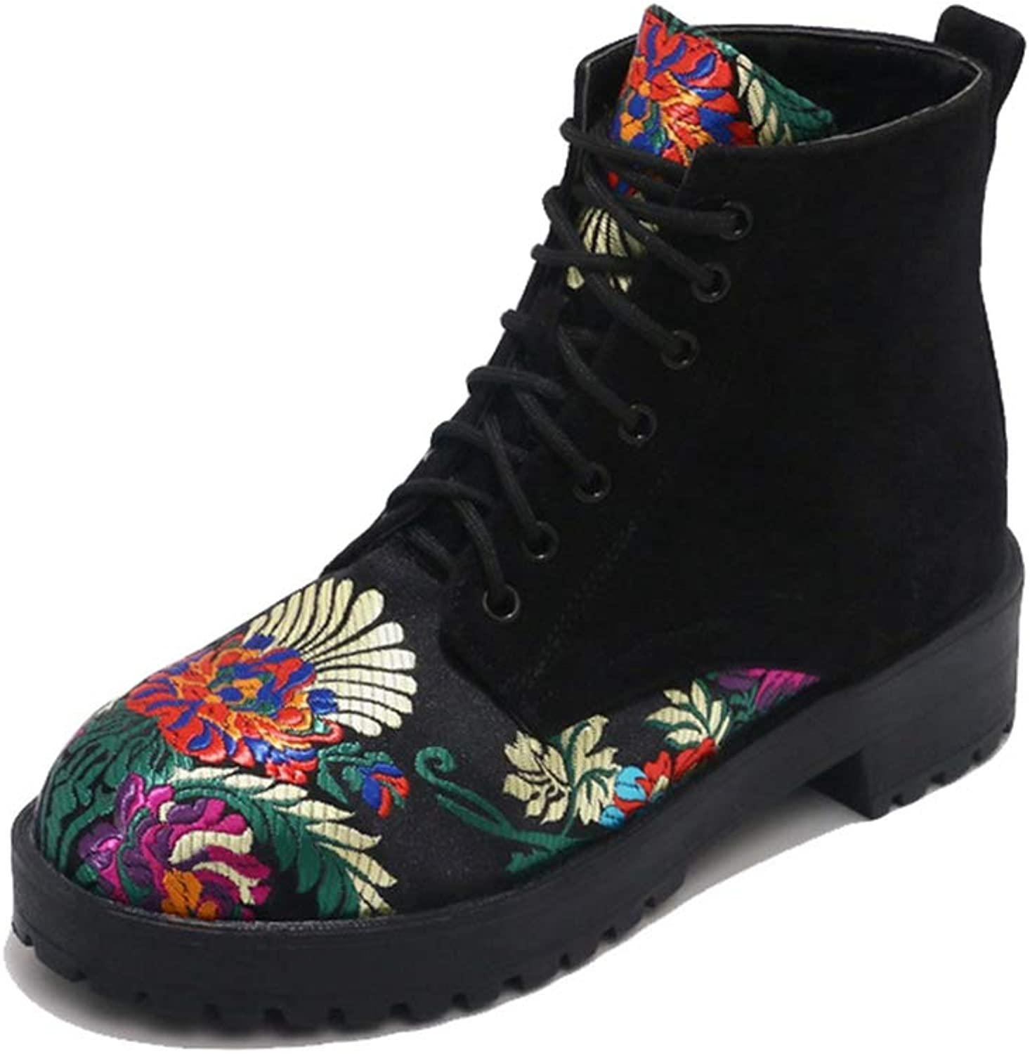Kyle Walsh Pa Women Spring Fashion Flower Embroidery Lace Up Ankle Boots Motorcycle Booties Black Female Suede Casual shoes