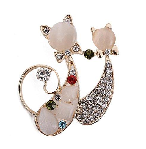 Broche de diamante de gato Broche de novia de diamantes de imitación bufandas chal