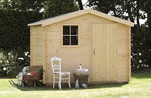 Alpholz Gerätehaus Antwerpen aus Massiv-Holz | Gartenhaus mit 19 mm Wandstärke | Garten Holzhaus inklusive Montagematerial & Dachpappe | Geräteschuppen Größe: 270 x 240 cm | Satteldach