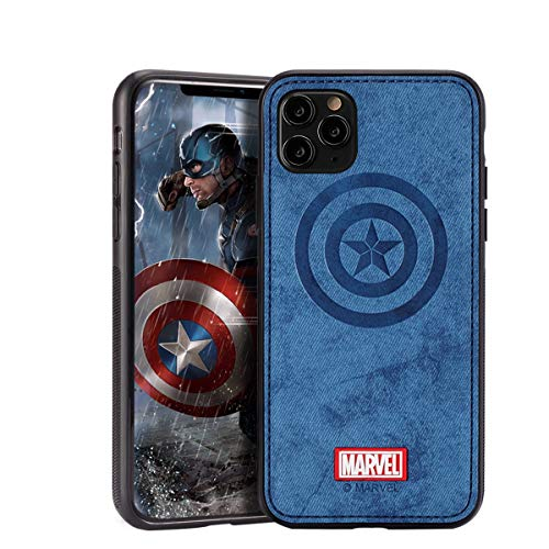 Case with Avengers Character Compatible with iPhone 11 Pro - Captain America, Blue