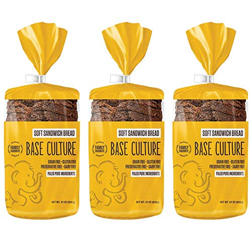 Base Culture Paleo Bread, Large Size | Delicious 100% Paleo, Gluten, Grain, Dairy, and Soy Free- Perfect for Sandwiches (5g Protein Per Loaf, 18 Slices Per Loaf, 3 Count)