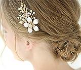 Deniferymakeup Pince à cheveux dorée de 8,1 cm - Bijou de cheveux fait à la main - Accessoire pour cheveux de mariage