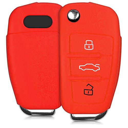 kwmobile Funda de Silicona Compatible con Audi Llave de Coche Plegable de 3 Botones - Carcasa Suave de Silicona - Case Mando de Auto Rojo