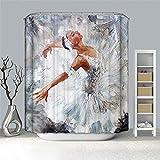MALECUPWH Duschvorhang Gewichte Anti Schimmel Wasserdicht 150X200 cm Polyester Stoff Vorhang Für Dusche Kunstölgemälde Ballerina Mädchen Mit Duschvorhang Ring