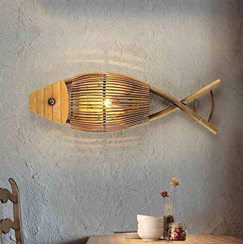 WHKHY La luz Lámpara de Pared de conveniencia Restaurante Estilo cafetería Personalidad Bambú Corredor de luz de Pared para la Industria pesquera Lámpara de Pared