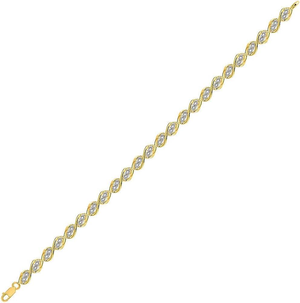 10kt Yellow Gold Max 70% OFF Womens Indianapolis Mall Round Bracel Diamond Illusion-Set Tennis