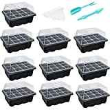 10-Pack Seed Trays Seedling Starter Tray (12 Cells per Tray) Humidity Adjustable Plant Starter Kit with Dome and Base Greenhouse Grow Trays for Seeds Growing Starting