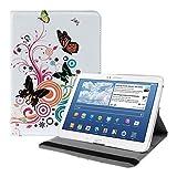 kwmobile Étui Compatible avec Samsung Galaxy Tab 3 10.1 P5200/P5210 - Étui à Rabat 360° avec Support et Élastique en Simili Cuir Multicolore-Fuchsia-Blanc