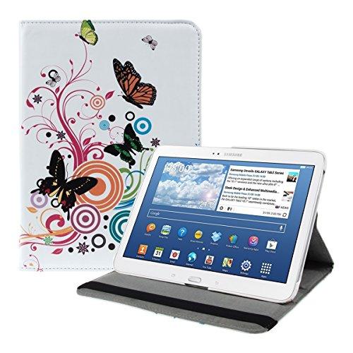 kwmobile Cover Compatibile con Samsung Galaxy Tab 3 10.1 P5200/P5210 - Custodia per Tablet Rotazione 360° Stand Similpelle - Farfalle Hippy Multicolore/Fucsia/Bianco