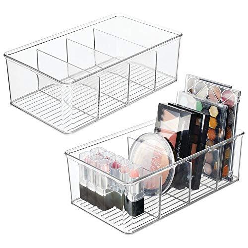 mDesign 2er-Set Schminkaufbewahrung für das Badezimmer – Make-up Organizer mit 4 Fächern – Kosmetikbox aus Kunststoff für Make-up, Nagellack, Medikamente usw. – durchsichtig
