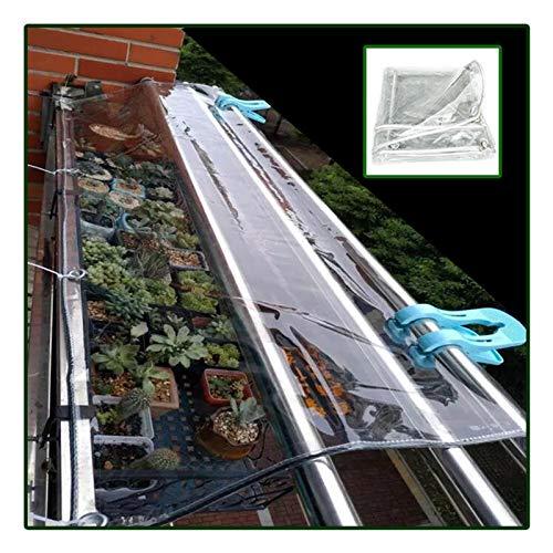 JJXL Glass Clear Tarpaulin, Waterproof Heavy Duty Anti Freezing Rainproof Film Cloth Insulation Canopy For Pavilions Carports Pools (Color : Clear, Size : 0.5X2M)