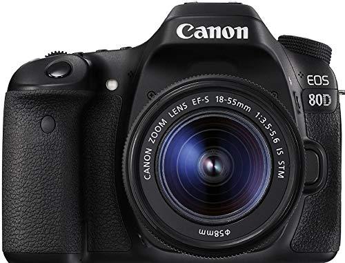 Canon Digital SLR Camera Body [EOS 80D] with EF-S 18-55mm f/3.5-5.6 Image Stabilization STM Lens with 24.2 Megapixel (APS-C) CMOS Sensor and Dual Pixel CMOS AF - Black