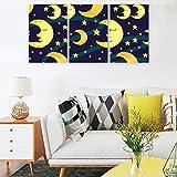 Juego de pósteres con diseño de luna y estrellas, color amarillo, 3 piezas, lona, blanco, 30 x 40 cm