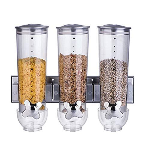 HOUSHIYU-521 Montado En La Pared Cereal Dispensador Triple Control Comida Seca Almacenamiento Envase, 41 x 31 x 12cm, 1.5L / Pcs, Plástico ABS,Plata