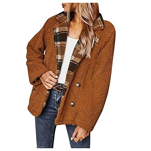 Vexiangni Abrigo de felpa Outwear para mujer, abrigo de invierno, clásico, clásico, fino, vintage, chaqueta para mujer, abrigo de lana, solapa, con botones, abrigo largo clásico, otoño, primavera