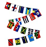 1 Set of 20 Caribbean Country String Flags has 20 12x18 inch polyester flags on one 30 ft string