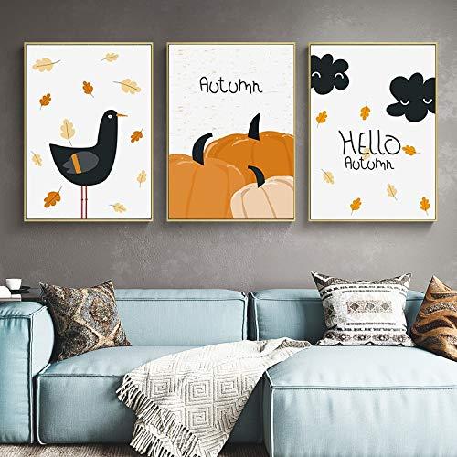 SDFSD cartoon pompoen vogel maan canvas poster kinderkamer muurkunst print schilderijen Scandinavisch beeld baby kinderen slaapkamer decoratie 90 * 120cm H
