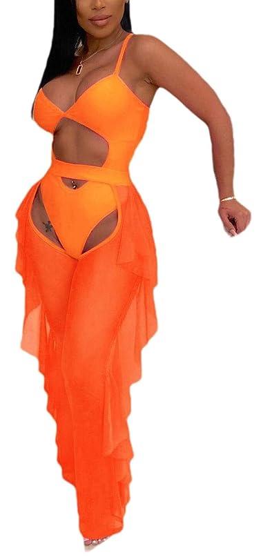 導出高音パスポートWomen's Crop Top and Pants Sets Open Back See Through Mesh Sexy Playsuits