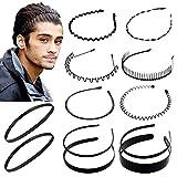 12 Unids Multi-Style Metal Hair Hoop Diadema de plástico Peine flexible Banda para el cabello Antideslizante Elástico Deporte Diademas Accesorios para el cabello unisex para mujeres y hombres
