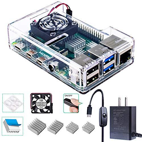 Smraza Raspberry Pi 4 Case with Fan, Raspberry Pi 4B Case, Acrylic Case with 4PCS Heatsinks, 5V 3A USB-C Type C Power Supply for Raspberry Pi 4 Model B Clear (RPI 4 Board Not Included)