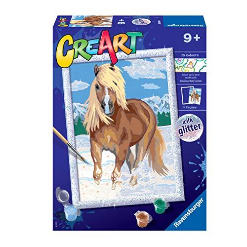 Ravensburger CreArt Caballo, Kit de Pintura, Pintar por Números, Juego Creativo para Niños y Niñas, Edad Recomendada 7+