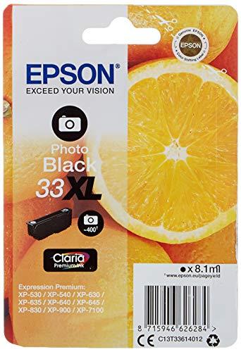 Epson Claria Premium 33 - Cartucho de tinta negro photo XL 8,1 ml válido para los modelos Expression Premium XP-530, XP-540, XP-630, XP-830, XP-900 y otros, Ya disponible en Amazon Dash Replenishment