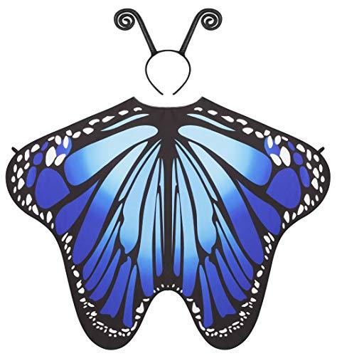 Seawhisper Schmetterling Kostüm Damen Flügel Schmetterlingsflügel Schmetterlingskostüm Erwachsene Faschingskostüme Fühler