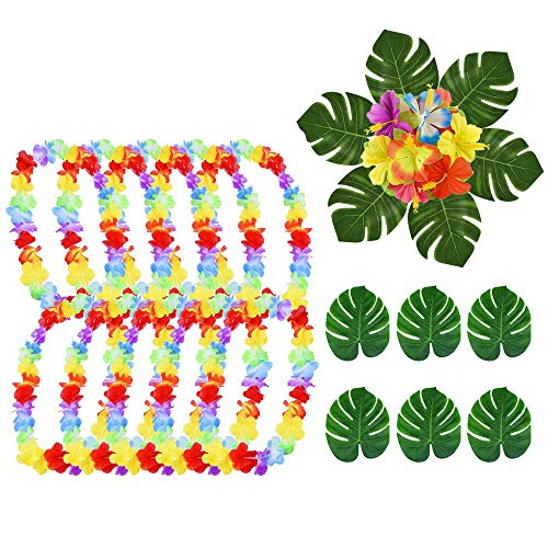 SIMUER 46 Stück Tropische Party Dekoration liefert, Hawaii Blumenketten Hawaiikette Halskette 8'' Tropical Palm Monstera Blätter und Hibiskusblüten,Halsketten für Kinder für Luau Lei Party