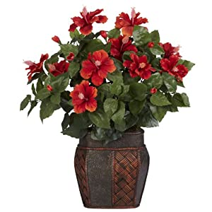 Nearly Natural 6667 Hibiscus with Vase Decorative Silk Plant, Red