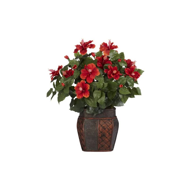 silk flower arrangements nearly natural 6667 hibiscus with vase decorative silk plant, red