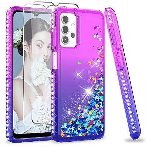 LeYi per Cover Samsung Galaxy A32 5G Custodia Glitter con Vetro Temperato [2 Pack], Brillantini Silicone Sabbie Mobili Antiurto Bumper TPU Case Donna Ragazza Violet Blu Gradient