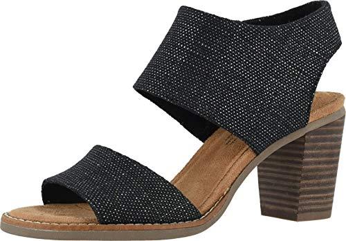 TOMS Womens Majorca Cutout Sandal Shoes 10015137 Black Foil Woven 8.5