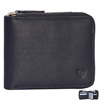 RFID Men s Leather Zipper wallet Zip Around Wallet Bifold Multi Card Holder Purse