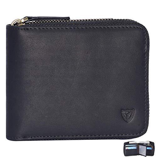 RFID Men's Leather Zipper wallet Zip Around Wallet Bifold Multi Card Holder Purse
