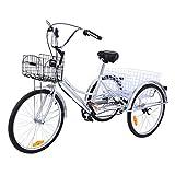 Ridgeyard triciclo adulto 24 '6 velocidades bicicleta 3 ruedas adulto con Cesta de la compra(plata)
