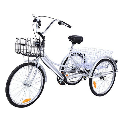 Ridgeyard Tricycle Adulte 24' 3 Roues 6 Vitesse Velo Tricycle Adulte Bicycle Trike Cruise avec Basket (Argent)