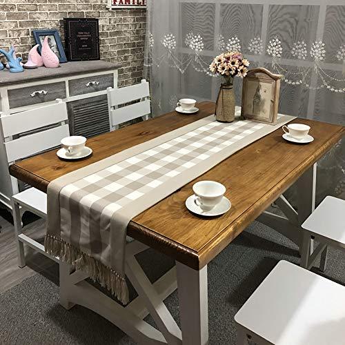 Cozomiz Camino de mesa de lino con diseño de cuadros con borla, manteles de arpillera decorativos para cenas, fiestas, bodas y uso diario, 37,8 x 238,8 cm, color marrón