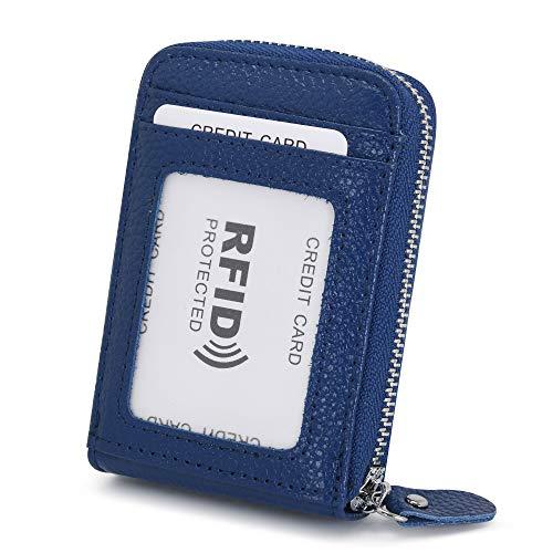 Tarjeteros para Tarjetas de Credito Mujer Hombre Piel con Cremallera Alrededor con el Bolsillo de la Moneda RFID Cuero Tarjeteros Pequeños de Visita (Azul Zafiro)