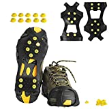 willceal Ice Cleats, Ice Grippers Traction Cleats Shoes and Boots Rubber Snow Shoe Spikes Crampons with 10 Steel Studs Cleats Prevent Outdoor Activities from Wrestling (Extra 10 Studs) (Large)