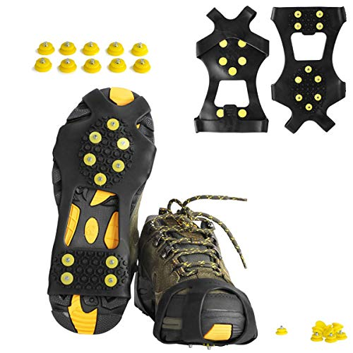 willceal Ice Cleats, Ice Grippers Traction Cleats Shoes and Boots Rubber Snow Shoe Spikes Crampons with 10 Steel Studs Cleats (Yellow,Small)
