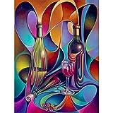 Rompecabezas de 1000 piezas grandes, botella de vino abstracta y rompecabezas de vidrio - Cada pieza del rompecabezas es única - Póster de rompecabezas gratis - Rompecabezas para adultos - 26x38cm