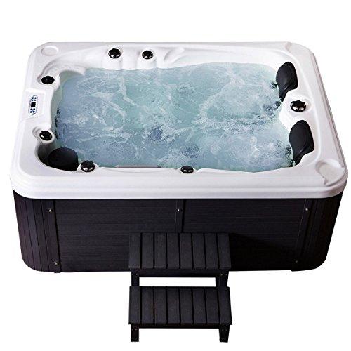 Outdoor Whirlpool Hot Tub Berlin Farbe weiß mit 51 Massage Düsen + WPC Treppe + Heizung + Ozon Desinfektion + LED Beleuchtung für 2 - 3 Personen für Garten / Terrasse / Außen