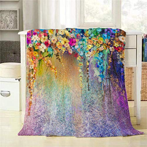 Mugod Floral Throw Blanket Watercolor Painting with Spring Blue Green Purple Yellow and Red Flowers Decorative Soft Warm Cozy Flannel Plush Throws Blankets for Bedding Sofa Couch 40 X 50 Inch