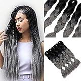 YMHPRIDE Cabello trenzado Ombre de 24 pulgadas Kanekalon 5 piezas de pelo trenzado jumbo, negro y gris
