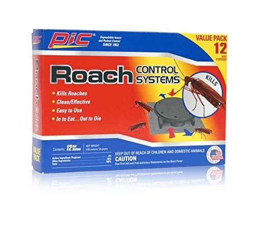 PIC Roach Control Systems 2-Pack, Effective Roach Killer, Indoor Outdoor Cockroach Killer, Convenient Roach Traps, Roach Trap w/Ready Roach Bait, 24-pc Cockroach Bait Value Pack
