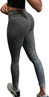 Wofupowga Womens Slim Candy Color Stretch Butt Lift Plus Size High Waisted Basic Legging Tights & Leggings Sports Apparel