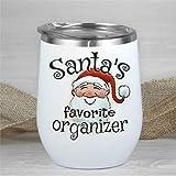 Bicchiere da vino con scritta 'Santa's Favorite Organized', a doppia parete, divertente senza stelo isolato, 340 ml