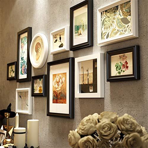 Fotokader Europese Stijl Zwart Vintage Photo Wandlijsten Slaapkamer Woonkamer Grote Multi Foto Muur Set Creatieve Ronde Vierkant Multi Fotolijsten Effen Hout 11 Stuks Set