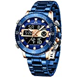 MEGALITH Men Watch Blue Waterproof Stainless Steel Led Analog Digital Watches for Men Male Day Date Stopwatch Heavy Metal Alarm Sport Watch Gent Outdoor Military Luminous Big WristWatch with Backlight
