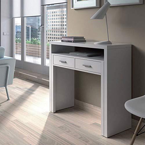 Habitdesign 004582BO - Mesa de escritorio extensible, color Blanco Brillo, medidas:...